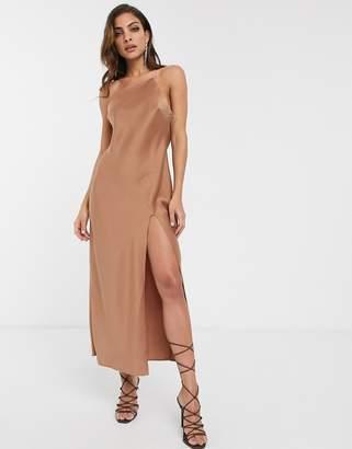 Asos Design DESIGN one shoulder midaxi dress in satin with drape back-Beige