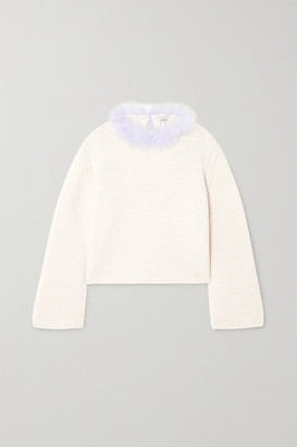 Loewe Open-back Feather-trimmed Cashmere Sweater - White