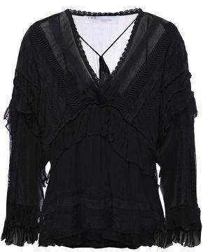 IRO Halo Ruffled Embroidered Georgette Blouse