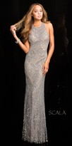 Scala Platinum Fully Sequined Prom Dress
