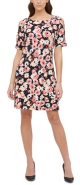 Tommy Hilfiger Petite Dhalia Floral-Print Cold-Shoulder Dress