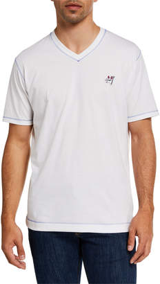 Robert Graham Men's V-Neck Embroidered Devil T-Shirt