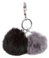 Rebecca Minkoff Double Fur Pom-Pom Keychain w/ Tags