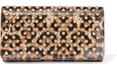 Christian Louboutin Macaron Spiked Leopard-print Patent-leather Wallet - Leopard print