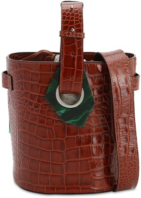 Ganni Croc Embossed Leather Bucket Bag