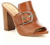 MICHAEL Michael Kors Cooper Leather Peep Toe Bukcle Block Heel Mules