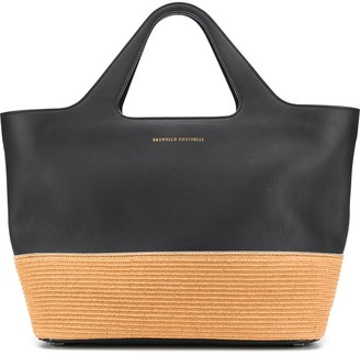 Brunello Cucinelli Raffia-Effect Panelled Tote Bag