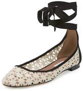 Tabitha Simmons Daria Daisy Crochet Ankle-Wrap Flat