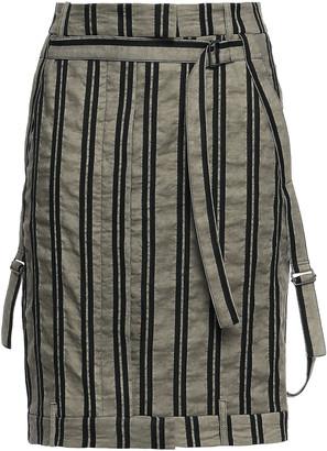 Ann Demeulemeester Striped Cotton And Ramie-blend Twill Mini Skirt