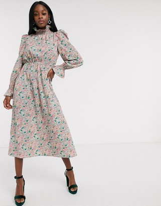NEVER FULLY DRESSED frill neck midaxi dress with puff sleeve detail in pink floral print