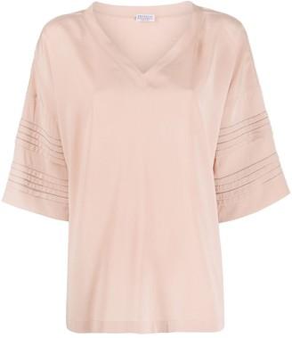 Brunello Cucinelli oversized pleated sleeve T-shirt