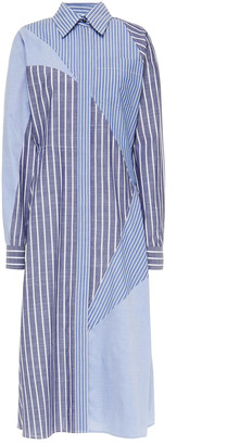 Cédric Charlier Patchwork-effect Cotton-blend Chambray And Poplin Midi Shirt Dress