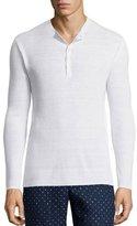 Michael Kors Linen-Blend Ribbed Henley Shirt, White