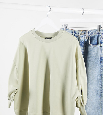 ASOS DESIGN Curve boxy sweat with wide sleeve in olive
