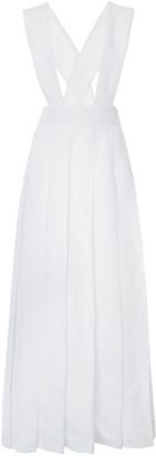 Miu Miu Pleated Linen Pinafore Maxi Dress