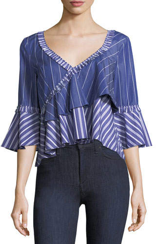 Cinq à Sept Fran Wide V-Neck Mixed-Striped Poplin Top
