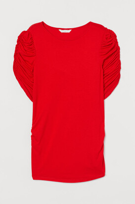 H&M MAMA Puff-sleeved Top - Orange