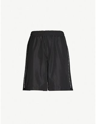 McQ Brand-print drawstring-waistband shell shorts