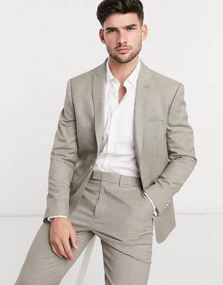 Topman slim fit pupstooth suit jacket in beige