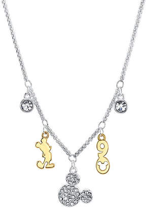 Disney Collection Crystal Pure Silver Over Brass 18 Inch Box Mickey Mouse Pendant Necklace
