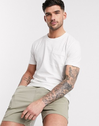 Selected organic cotton one pocket slub t-shirt in cream