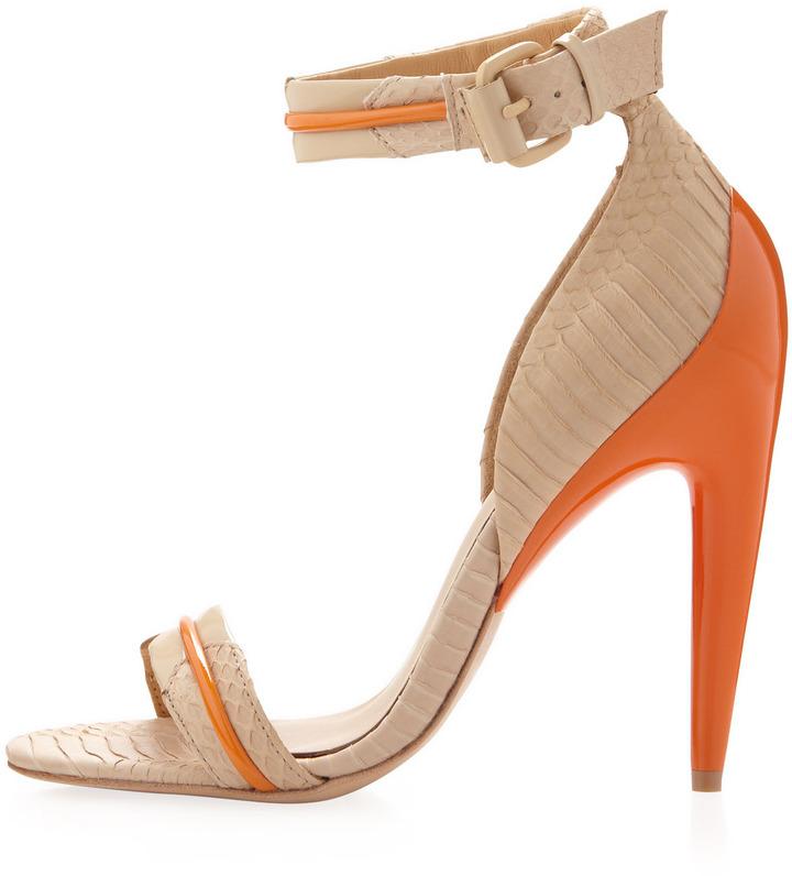 L.A.M.B. Jazmyn Snake-Embossed Ankle-Wrap Pump, Naked/Orange