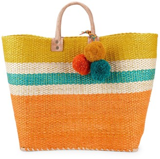 Mar y Sol Colorblock Straw Tote