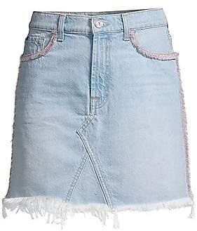 7 For All Mankind Women's Fringed Denim Mini Skirt
