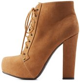 Charlotte Russe Lace-Up Chunky Platform Booties