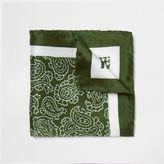 River Island MensGreen mixed pattern silk pocket square