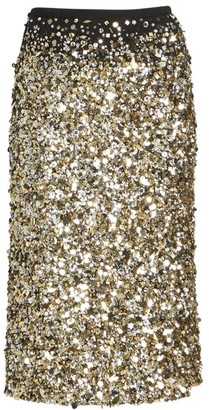 Dries Van Noten Sequin Silk Midi Pencil Skirt