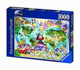 Ravensburger Disney World Map 1000 Piece Jigsaw Puzzle Featuring the entire Disney Family: Disney Princess, Donald Duck, Mickey Mouse, Peter Pan and many more!