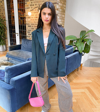 4th & Reckless Petite oversized blazer in teal