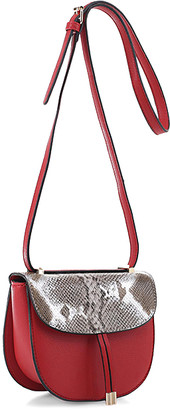 Alyssa Women's Crossbodies RED - Red & Gray Snake-Embossed Tassel Crossbody Bag