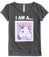 Beautees Unicorn/Panda Reversible Sequin T-Shirt, Big Girls