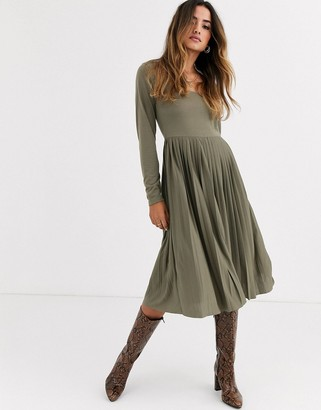 ASOS DESIGN Long sleeve square neck midi pleated dress in khaki