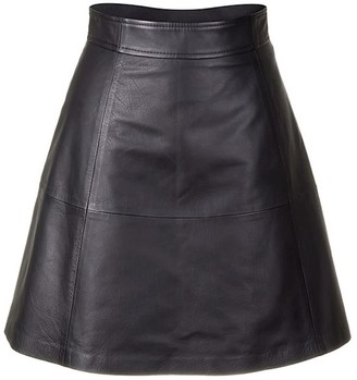 Zut London Softest Leather Classsic Flared Skirt - Black