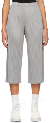 Pleats Please Issey Miyake Grey Cropped Trousers
