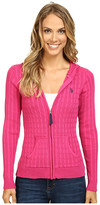 U.S. Polo Assn. Cable Knit Zip Front Hooded Cardigan