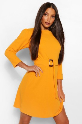 boohoo Tall Puff Sleeve Belted Skater Dress