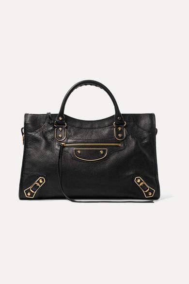 Balenciaga Metallic Edge City Medium Textured-leather Tote - Black