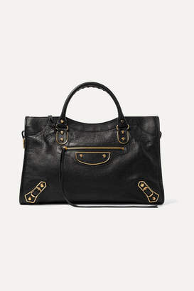 Balenciaga Metallic Edge City Medium Textured-leather Tote - Black