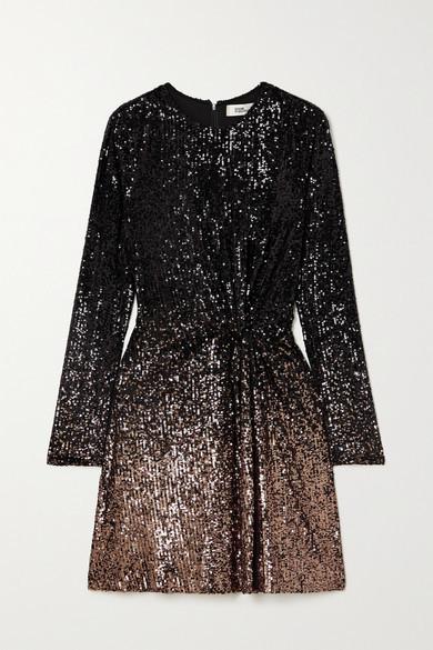 Diane von Furstenberg Savanna Twist-front Sequined Jersey Mini Dress - Black