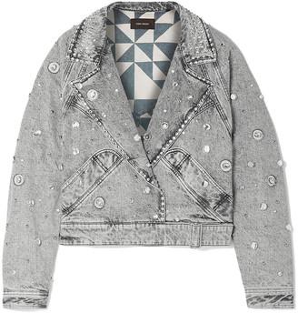Isabel Marant Oversized Cropped Embellished Denim Jacket
