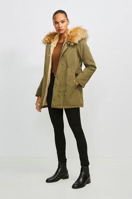 Karen Millen Faux Fur Hood and Trim Parka Coat