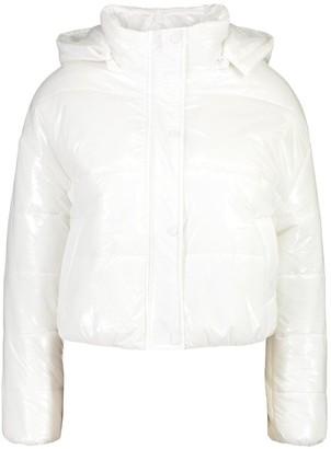 boohoo Petite Hooded Crop High Shine Coat