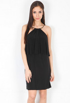 T-Bags T Bags Mini Dress with Gold Collar in Black