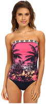 Tommy Bahama Ombre Palm Foldover Band Shirred Cup Bandeau One-Piece