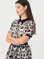Very Collar Mono Lace Midi Dress - Monochrome
