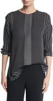 Vince Striped Silk Long-Sleeve Top, Black/Chalk